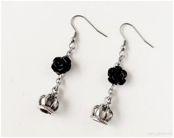 Gothic Lolita Black Rose and Crown Earrings, Surgical Steel, Gothic Jewelry, Victorian