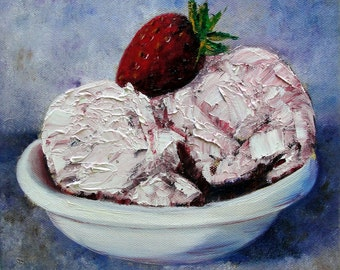 Still Life Painting, Ice Cream, Strawberry, Original Oil on Canvas by Helen Eaton