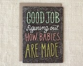 Funny New Baby Card, Congratulations Baby, Pregnancy Card - How Babies Are Made