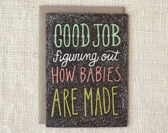 Funny First Father's Day Card, New Baby, Pregnancy Card - How Babies Are Made