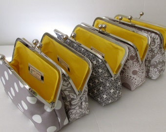 Bridesmaid Clutch Set,  Five Wedding Clutches, Gift for Her,  Grey and White, Bridesmaid Gift by Cutiegirlie