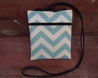 Aqua Chevron Cross Body Pouch