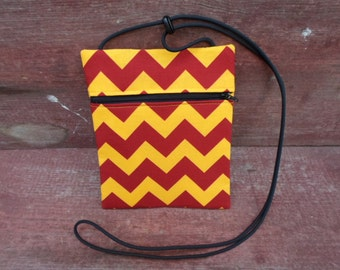 Iowa State Red & Yellow Chevron Cross Body Pouch