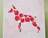Doberman Pinscher Art Block - Dobie Art Block Rustic Finish- Watercolor Flower Dogs- Home Decor- Nursery Decor- Dog Wall Art- Milk Paint
