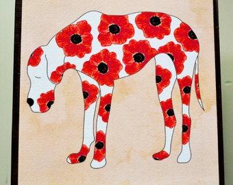 Great Dane Art Block - Large Dog Art Block - Rustic Finish- Watercolor Flower Dogs- Home Decor- Nursery Decor- Dog Wall Art- Milk Paint