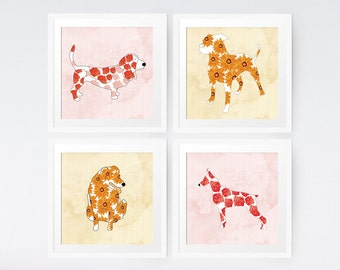 Watercolor Flowers and Dogs Art Print Set of 4 - dog art print orange red -nursery art cute animal prints baby room dogs for childrens room