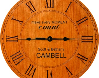 """12"""" Cherry Wood Clock PERSONALIZED"""