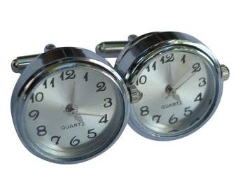 Steampunk Victorian pocket watch real working Quartz watch cufflinks cufflink wedding bridal groom
