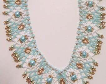 Turquoise and Pearl Seed Bead Choker