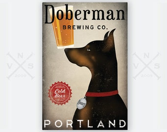 FREE CUSTOMIZATION DOBERMAN Pinscher Brewing Company Beer Sign Gallery Wrapped Canvas Wall Art Ready-to-Hang Doodle