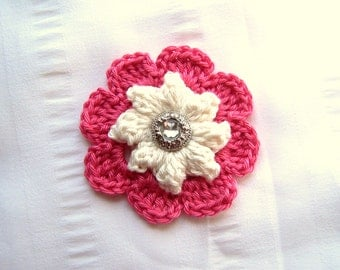 Crochet flower motif with button 3 inch pink single  flower applique embelishment