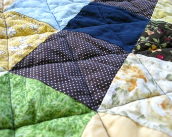 Puffy Baby Quilt Unisex Baby Blanket in Blue Green Patchwork Quilt