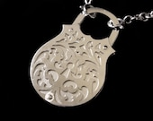 Padlock Locket - 100% Recycled Silver Ornate Baroque Scrolls Necklace - CHEST OF HEARTS