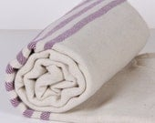 Bath Towel / Beach Towel , Turkish Bath Towel...Linen - Cotton PESHTEMAL Cream-Purple
