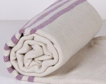 Bath Towel / Beach Towel , Turkish Bath Towel...Linen - Cotton PESHTEMAL Cream-Purple