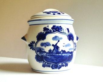 Vintage Mustard Jar - Delftware Dutch Windmill Design For Marne's Mustard