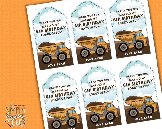 Construction Hanging Editable Tags - Birthday Party, Baby Shower or Big Truck Party - Instant Download DIY Printable PDF kit