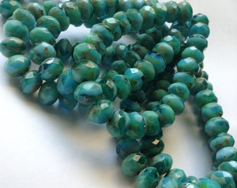 15ct 8x6mm Emerald and Turquoise Picasso Czech Glass Rondelle Beads