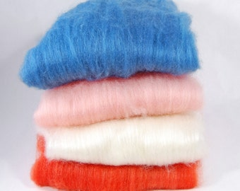 BFL/Silk Blue Pink White Red Batts - 4 ounces