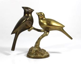 Vintage Brass Cardinals On a Branch - Leonard Silver Mfg. Co.
