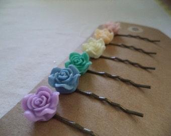 Set of Six Rose Bobbi Pins