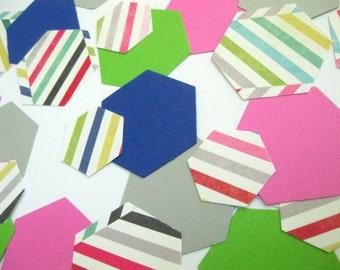 Hexagon Confetti - Blue/Pink/Green/Gray Confetti - Mixed Size/Patterns -Parties/Showers/Weddings/Wall Art/DIY Garland/ Nursery Decorations
