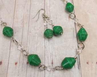 Paper Bead Necklace and Earring Set - Rwandan Paper Beads - Emerald Green with Clear - Dark Green
