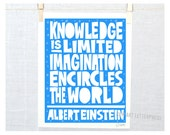 Knowledge is Limited. Imagination encircles the World - Einstein, Science quote, Classroom art, kids room art