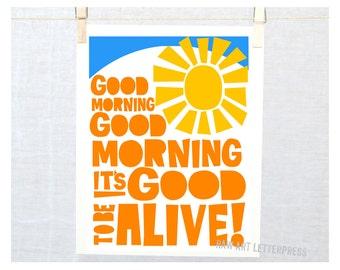Good Morning Art, Kitchen Wall Art, Bathroom Art, Good Morning Illustration, Kids room Art, Classroom Decor, Baby Art Print
