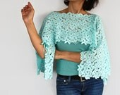 Teal Tunic Shrug - Mint Green Cotton Lace Capelet. Handmade