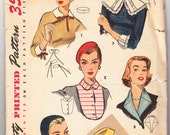 Vintage 1955 Simplicity 1390 Sewing Pattern Craft Misses' and Women's Set of Collars, Cuffs, Dickey, Hat and Beret