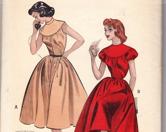 Vintage 1954 Butterick 6844 Sewing Pattern Misses' Quick and Easy Teen Age Dress Size 12 Bust 30