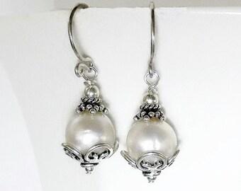Sterling Silver Pearl Earrings, White Pearl Drop Earring, Freshwater Natural Genuine Pearl Earrings