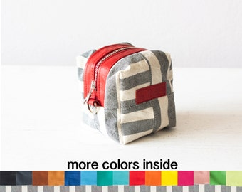 Striped makeup case, cosmetic bag vanity storage bridemaids gift baby accessory bag beauty makeup case - Cube