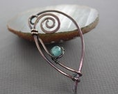 Swirly ornate shawl pin or scarf pin with wrapped aquamarine color agate stone