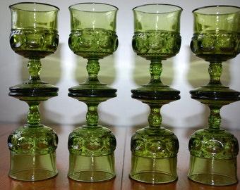 Eight Vintage Kings Crown or Thumbprint - Wine Glasses - Avocado Green - Retro 1960's - Indiana Glass