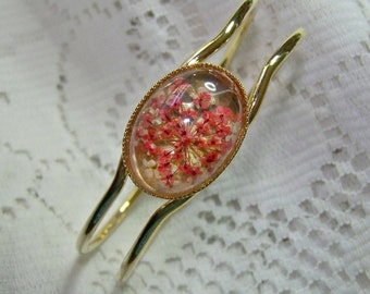Real Flower Jewelry, Adjustable gold Cuff bracelet with Pink & White flowers, Pressed Flower Cuff Bracelet, Real Flowers, Strawberry Ice