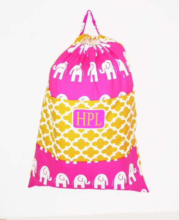 Personalized Laundry Bags, Large Bright Chevron Pattern, Graduation Gift, Dorm Decor, 20 x 28 Pick your Pattern, Color Block, Drawstring Bag