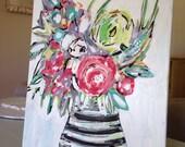 "Paris Fleur 24x18"" Original Painting Paula Kathlyn Art FREE SHIPPING"