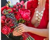 Red Rose Peony Berry Bouquet - Crimson Raspberry Blueberry Blackberry Wedding Bouquet