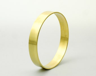 Simple Brass Cuff Bangle - 12mm Wide - Made to Fit Your Wrist