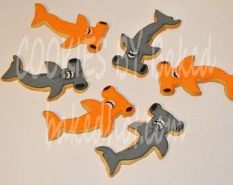 Hammerhead Shark Hand Decorated Sugar Cookies