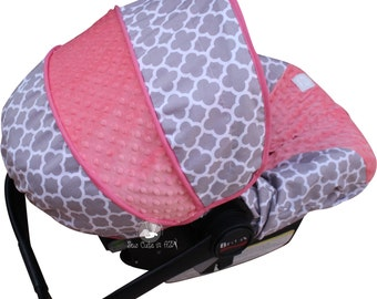 Infant Car Seat Cover Grey Quatrefoil with Coral