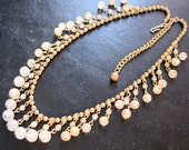 Vintage Bib Glass Beaded Necklace Choker Gold Tone Costume Jewelry Jewellery