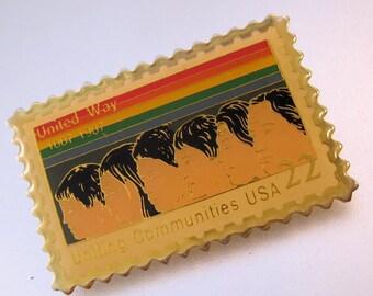 1987 United Way 22 Cent US Postal Postage Stamp Lapel Tack Tac Pin Vintage Jewelry Jewellery