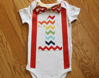 rainbow smash cake outfit, boys 1st birthday outfit, boy's 1st birthday bodysuit, red, blue, yellow, chevron, cake smash, smash cake outfit