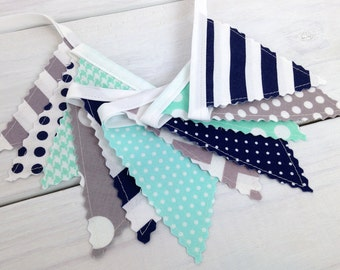 Bunting Banner Mini, Fabric Banner, Fabric Flags, Baby Boy Nursery Decor, Birthday Decoration - Mint Green,Navy Blue,Gray,Grey,Chevron,Dots