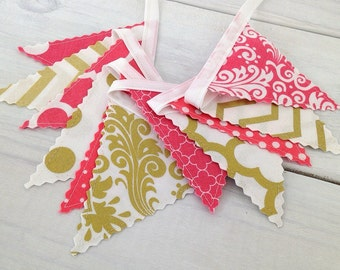Bunting Banner Mini, Fabric Banner, Fabric Flags, Girl Nursery Decor, Birthday Decoration - Coral Pink,Gold,Chevron,Dots,Damask