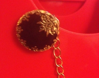 Classic Black & Gold Sweater Clip- Upcycled