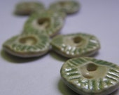 Small light green textured ceramic handmade buttons